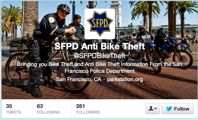 A screenshot of the SFPD's new Twitter feed devoted to bike theft (twitter.com/sfpdbiketheft)