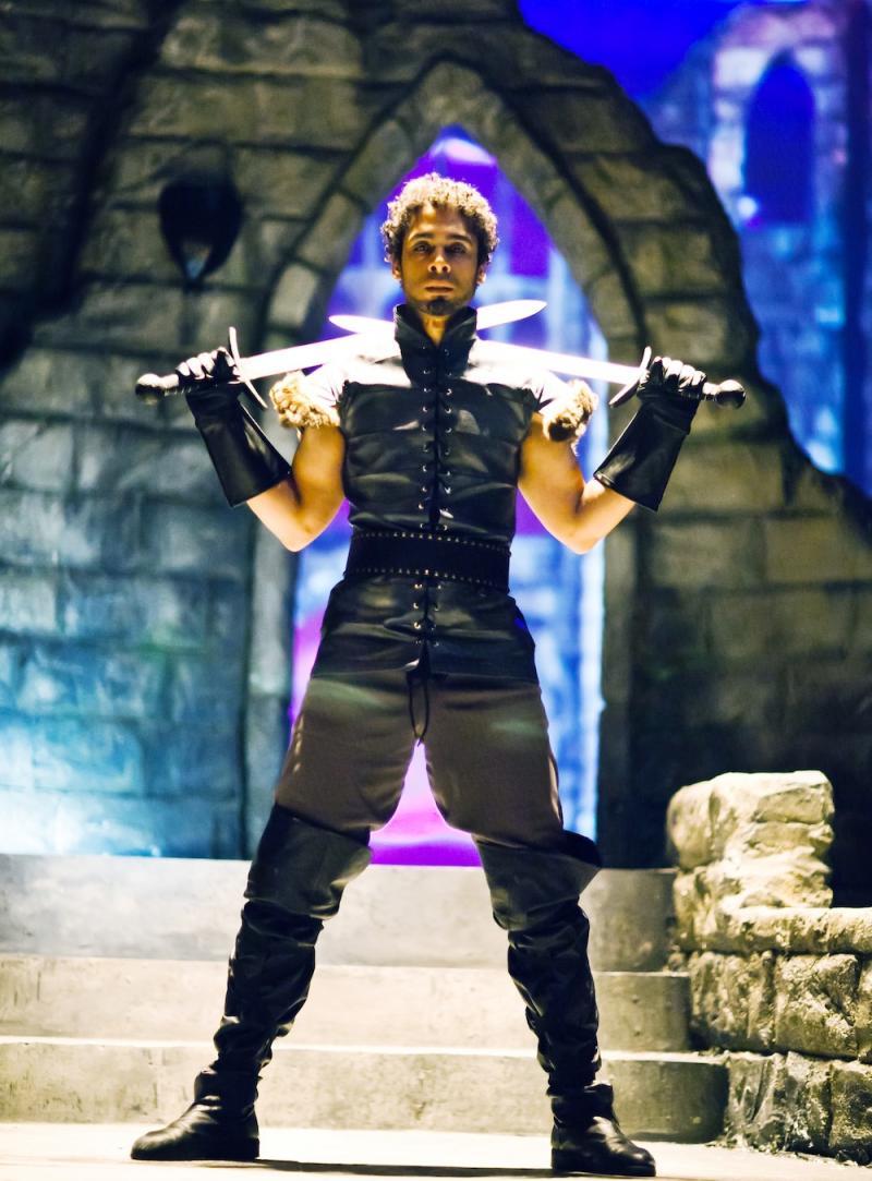 Wilson Jermaine Heredia as Lancelot prepares to battle knights.