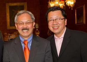 Bay Area journalist and broadcast personality Ben Fong-Torres (on right, with SF Mayor Ed Lee), is one of the participants in this year's Radio Day by the Bay in Berkeley