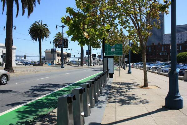 A Bay Area Bike Share kiosk on the Embarcadero in San Francisco. (via Bay Area Bike Share's Twitter)