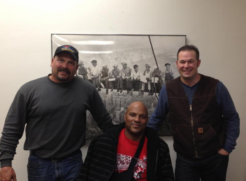 Matthew Cochran, Steven Batiste, and Jerry Kubala Jr. at their union headquarters in SF, Ironworkers Local 377 (via Isabel Angell)