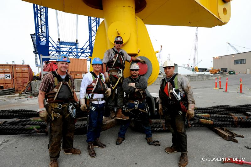 Ironworkers on the new eastern span of the Bay Bridge. Matthew Cochran is fourth from left. (via Matthew Cochran)