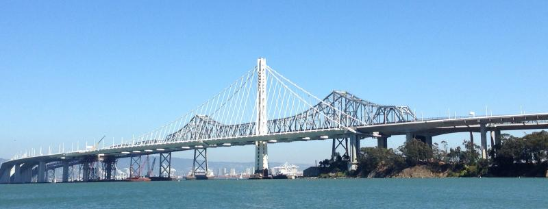 The new eastern span of the Bay Bridge, with the old span in the background. (via Isabel Angell)