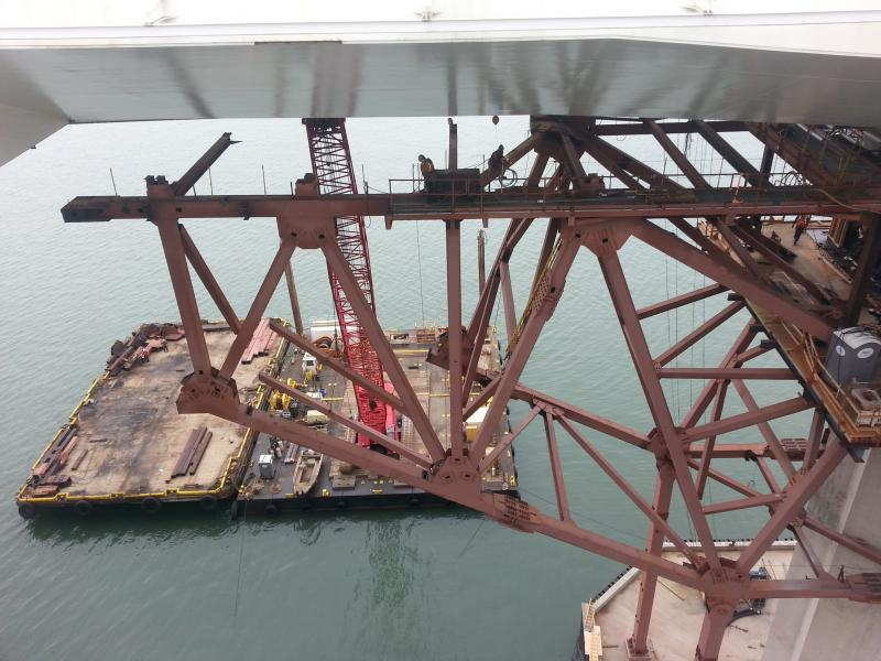 A view of the massive crane from the bridge (via Steven Batiste)