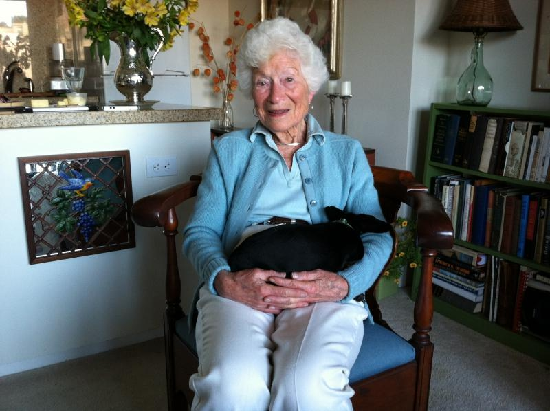 Ellen Small with her dog Minnie at her apartment in Oakland