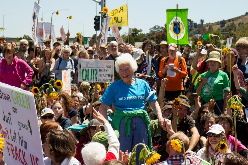 90-year-old activist Ellen Small at the Chevron refinery protest on August 3rd