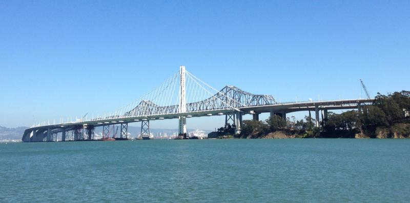 The new eastern span of the Bay Bridge, which opens to traffic on Tuesday, September 3