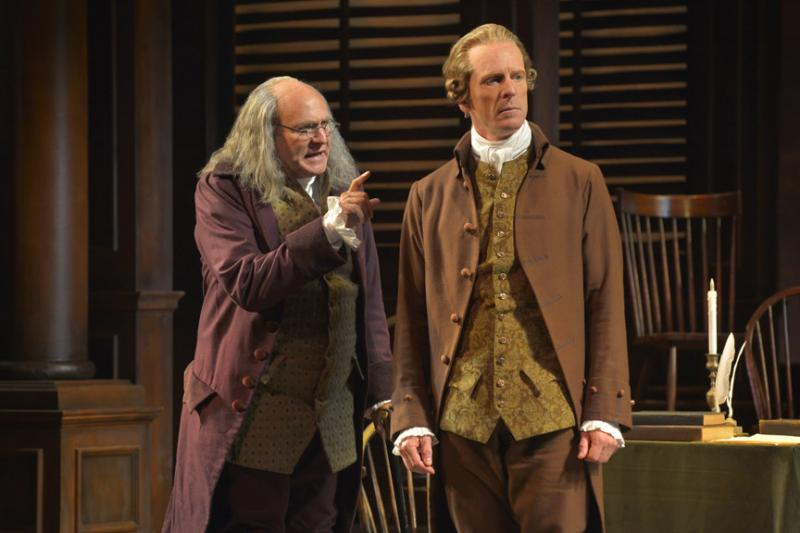 Andrew Boyer (Benjamin Franklin) and John Hickok (John Adams) in the West Coast premiere of Tony Award–winning director Frank Galati's triumphant new staging of the musical 1776, now playing at A.C.T.'s Geary Theater through October 6, 2013.