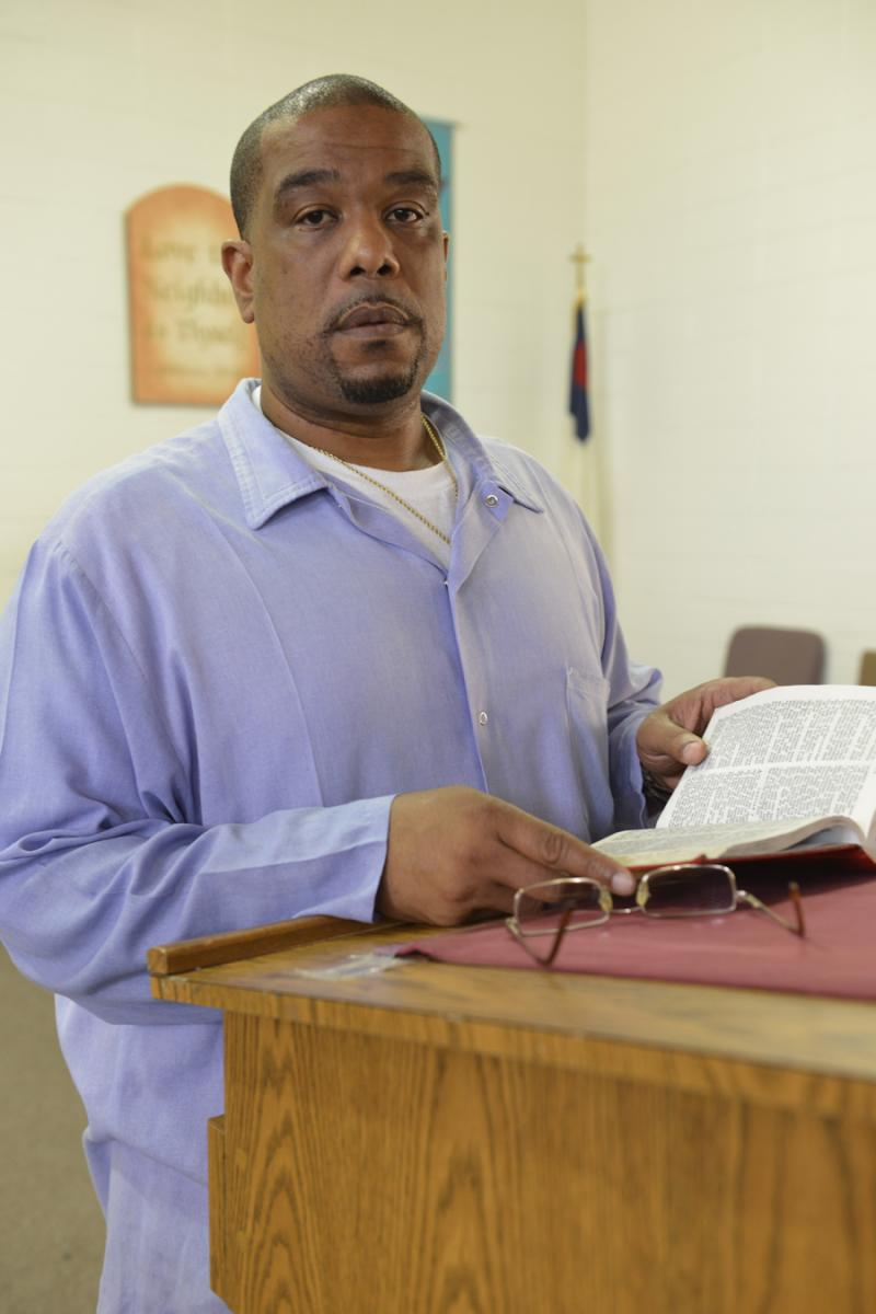 Derrick Holloway serves as an inmate preacher in San Quentin State Prison.