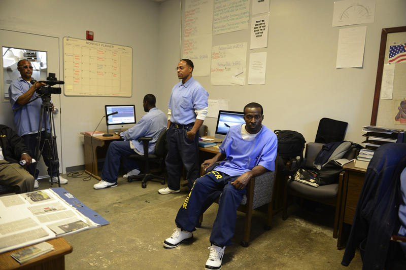 San Quentin reporters working in their studio space