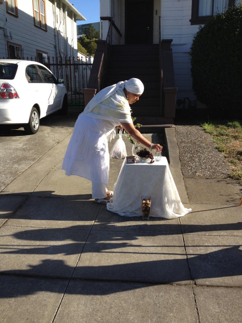 Ayanna Davis preparing the altar
