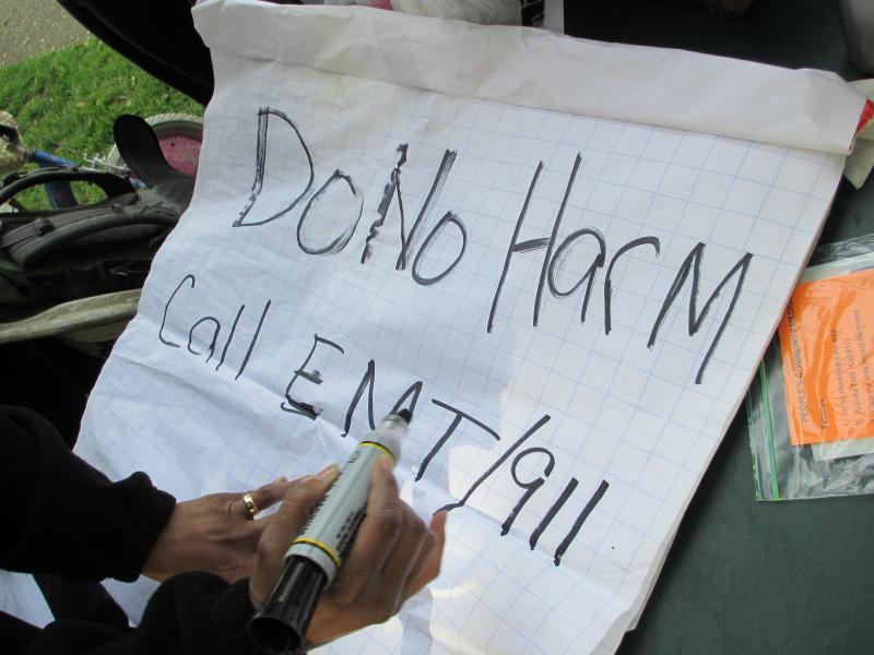 Lesley Philips writes a sign.