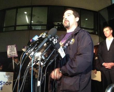 John Arantes of SEIU 1021 announcing that the October BART strike is over.