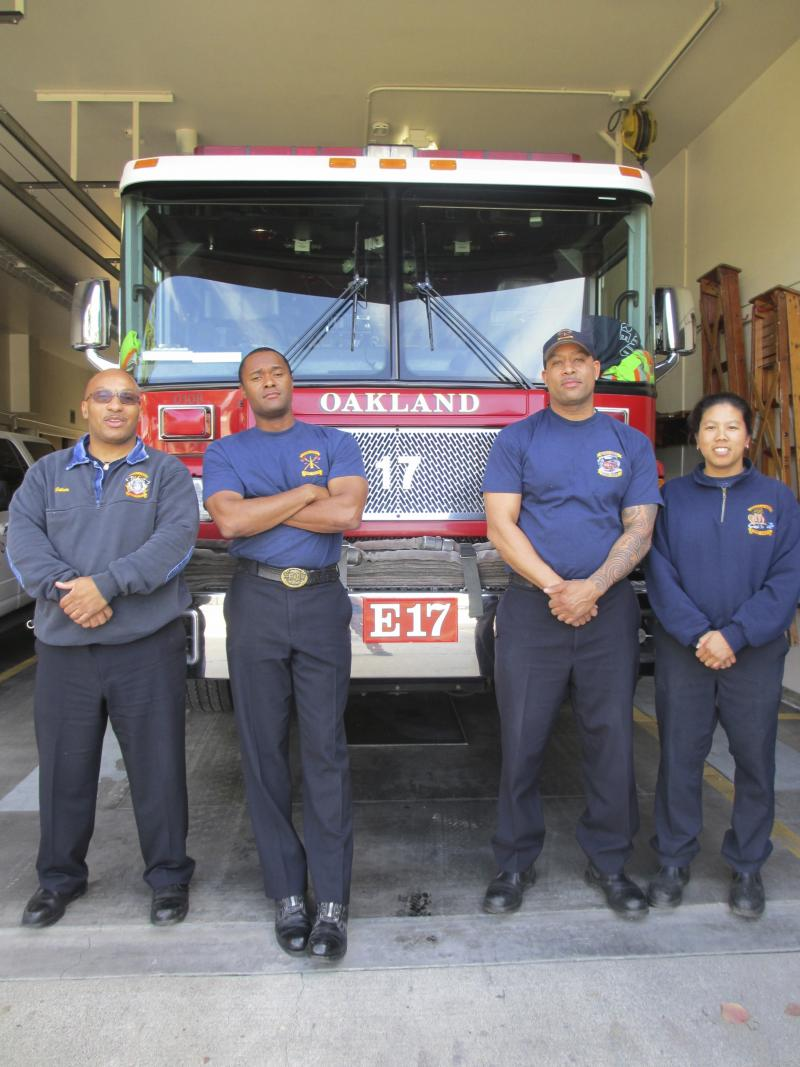 The Oakland Fire Department is the designated first responder to an emergency. Left to right: Manny Watson, Gordon Gullete, Rob Thrower, and Tracey Chin.