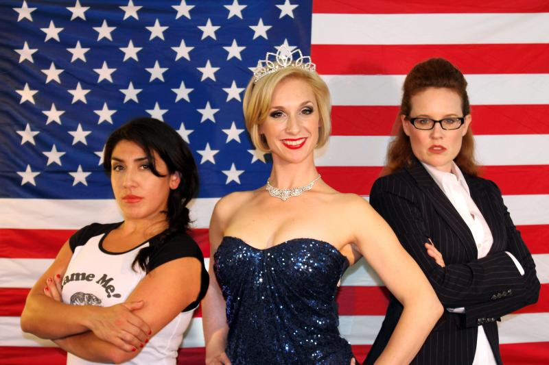 "Marilet Martinez, Kathryn Zdan, and Marilee Talkington in Lauren Gundersen's ""The Taming""."