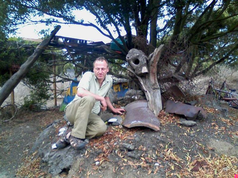 Dan Paul with his sculpture. Paul and the other Bulb residents face eviction soon.