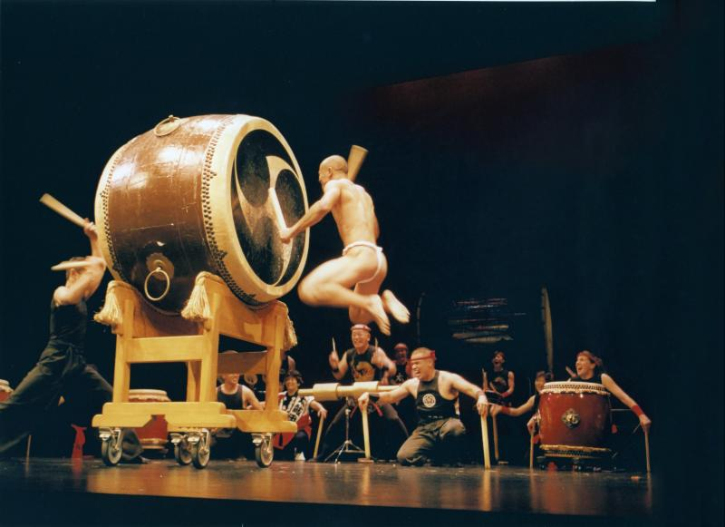 Ryan Kimura plays a one-ton Taiko drum with the San Francisco Taiko Dojo. Photo courtesy of SF Taiko Dojo.