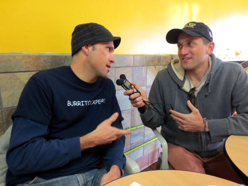 Charles Hodgkins, aka 'The Burritoeater,' and KALW's Ben Trefny