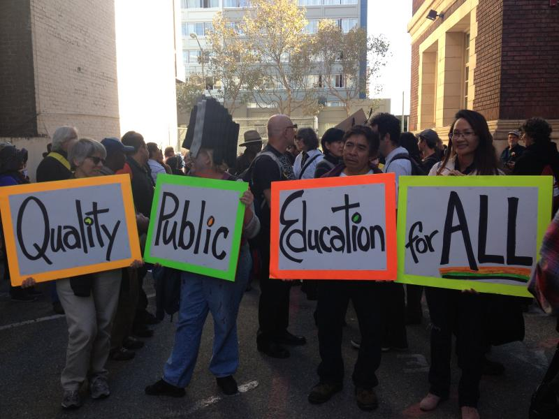 CCSF Supporters gather at the Downtown campus before marching to City Hall