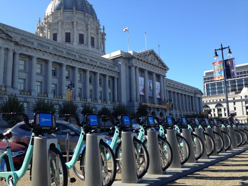 The Bay Area Bike Share station in front of San Francisco City Hall.