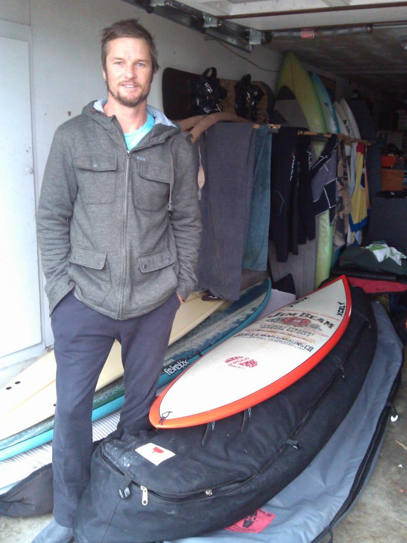 The Mavericks champ in the garage of fellow big-wave surfer, and sometimes housemate, Ryan Seelbach
