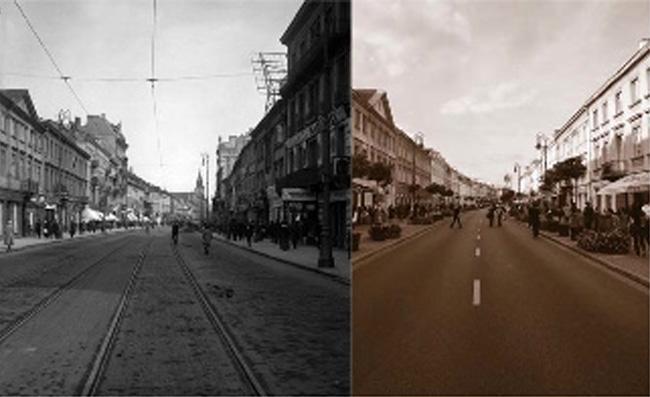 "Warsaw's Nowy Swiat (""New World"") Street, c. 1915-1918; in 2009"