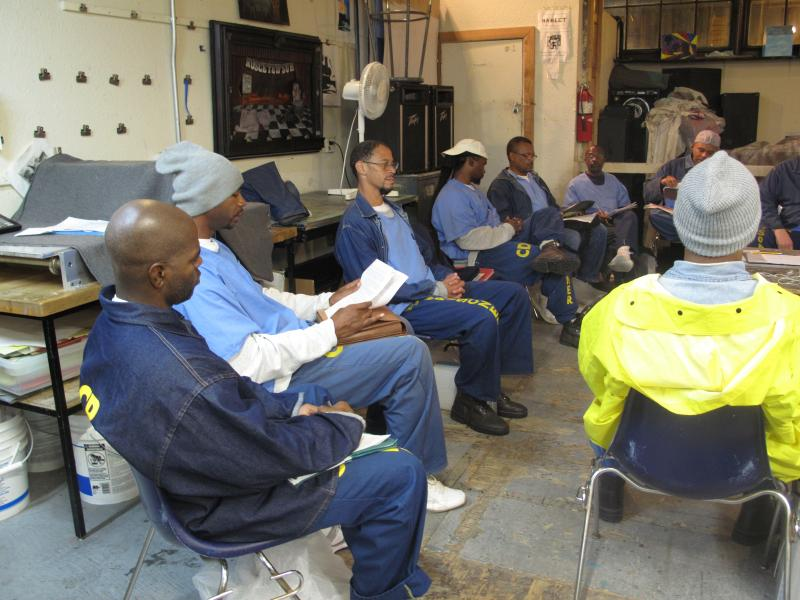 Prison Arts Project's creative wrting class at San Quentin State Prison.