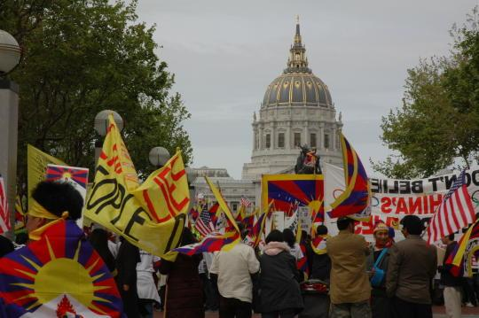 Free Tibet rally at San Francisco's City Hall. April 2008