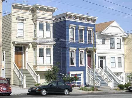 Victorian homes in the Dogpatch District, San Francisco.