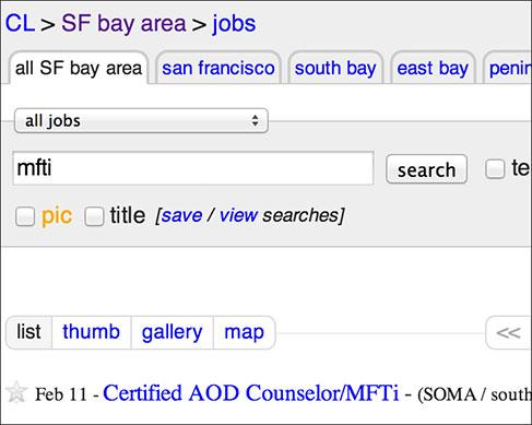 Job searching on Craiglist