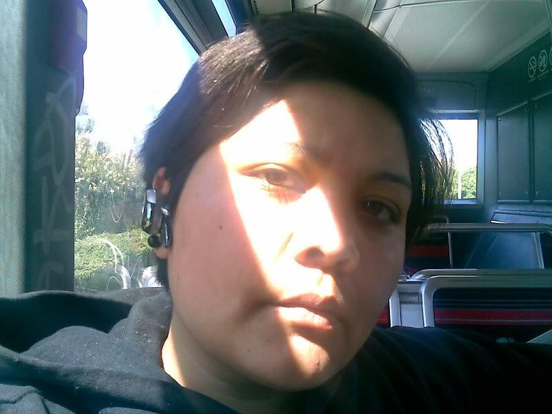 Helen Garcia on the bus, while she was homeless.