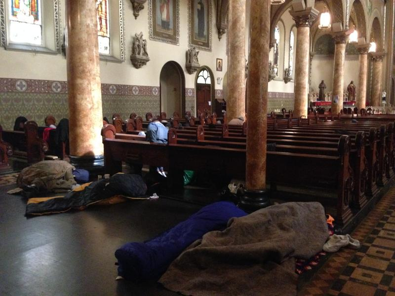 One stop on Del Seymour's tour is Saint Boniface Church's Gubbio Project, which allows homeless in the Tenderloin to sleep during the day