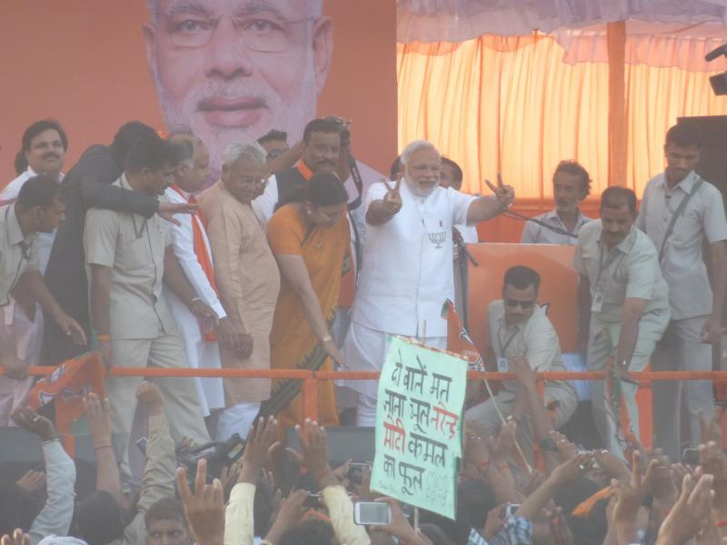 Narendra Modi at a rally