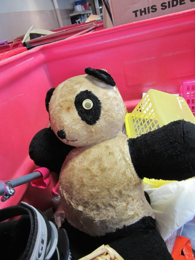 Donated stuffed animals in sorting warehouse at Salvation Army
