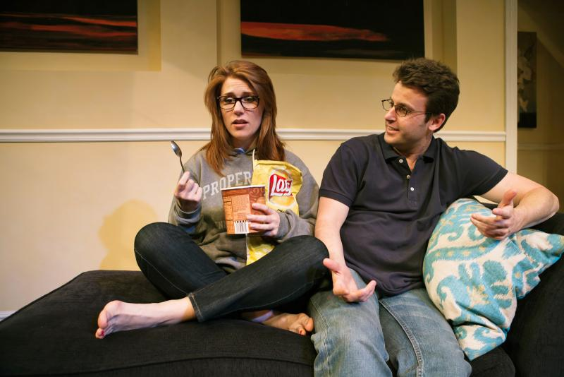"Lauren English & James Wagner in SF Playhouse's ""Seminar""*) mocks."