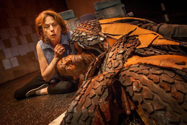 "The Driver (JoAnne Winter) discovers an injured hawk (Carl Lumbly) in Word for Word's ""36 Stories by Sam Shepard"" at Z Below."