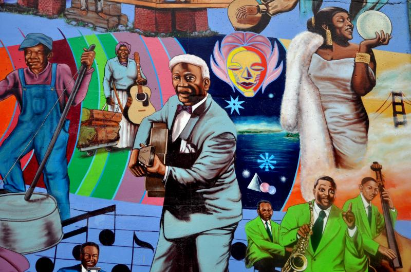 "A mural paying homage back to when the Fillmore was known as ""The Harlem of the West."""