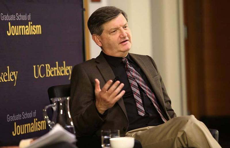"New York Times reporter James Risen speaks in an event titled ""Prosecuting the Press"" at UC Berkeley. Risen faces incarceration for refusing to disclose his sources."