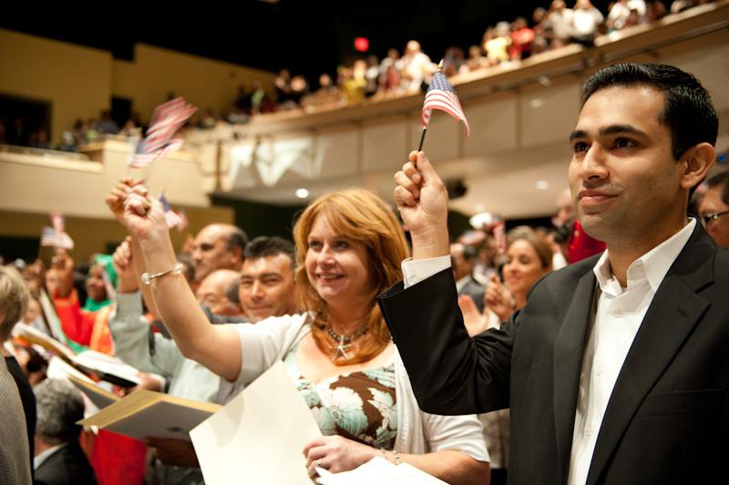 New citizens at citizenship ceremony
