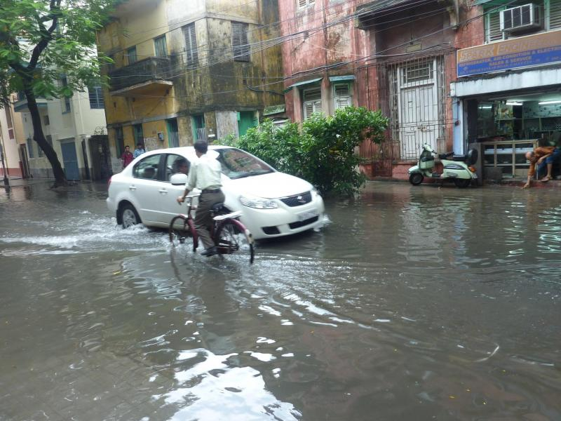 Flooded street in Kolkata