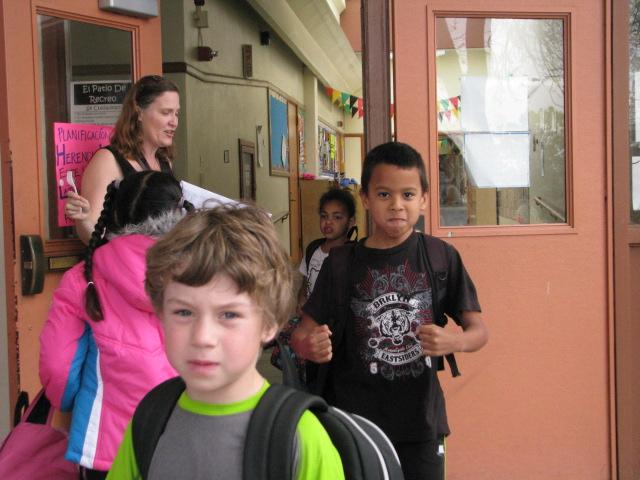Second grade teacher Pamela Diebel releases her class after the lockdown drill.