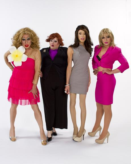 (l to r)  Heklina as Carrie Bradshaw, Lady Bear as Miranda Hobbes, Alaska as Charlotte York,  and D'Arcy Drollinger as Samantha Jones  in Sex And The City: LIVE!