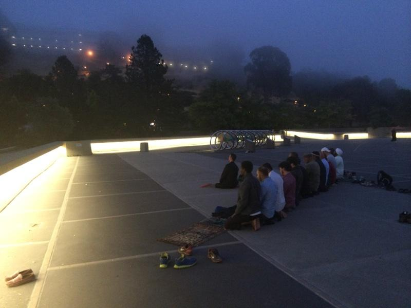 East Bay Muslims pray atop a UC Berkeley hill.