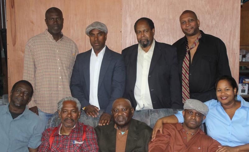 "Cast of Multi Ethnic Theater's ""Jitney"": (front row L-R) Vernon Medearis, Charles Johnson, Bennie Lewis, Fabian Herd, Robin Hughes; (back row, L-R) Trevor Lawrence, David Stewart, Stuart Elwyn Hall, Anthony Pride"