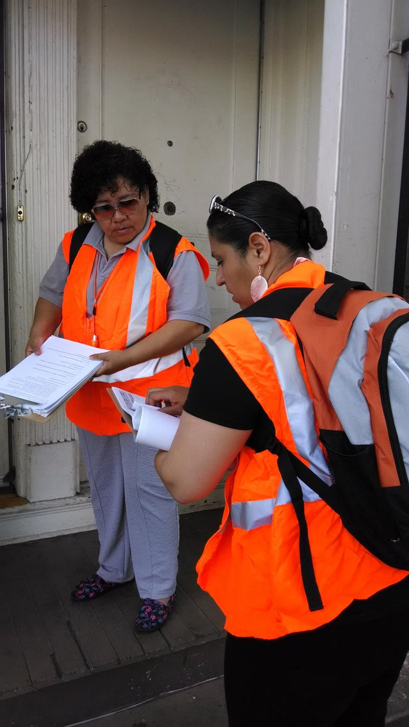 Amelia Martinez and Elizabeth Montiel hit the streets to survey Mission residents