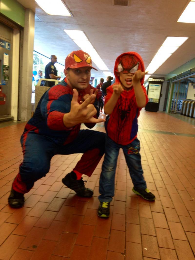 Csaba Bessenyei dressed up as Spider-Man.