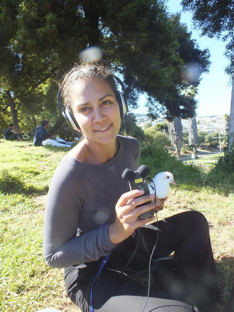 Reporter Martina Castro interviews a pigeon