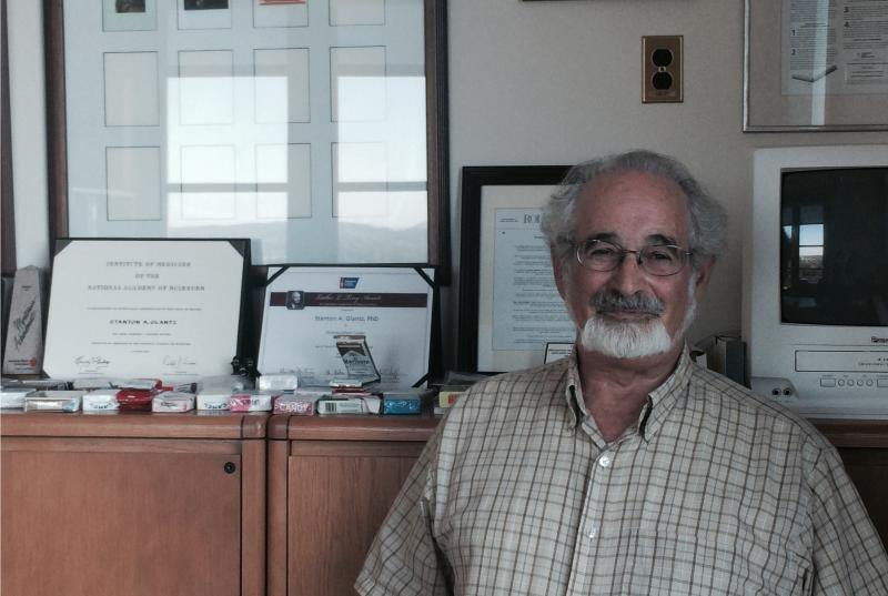 Professor Stanton Glantz discusses the evidence linking cell phone radiation and sperm damage in his office in the Center for Tobacco Control Research and Education at the University of California, San Francisco, Medical School..