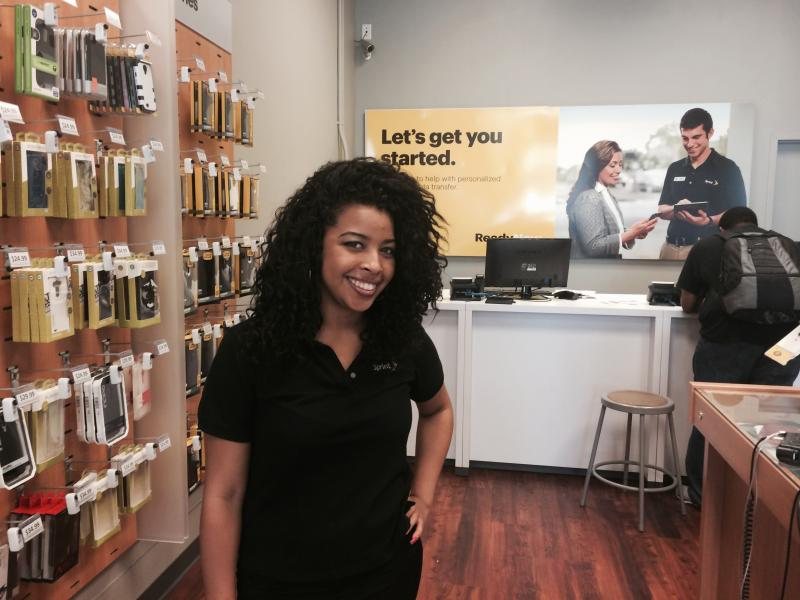Berkeley Sprint sales representative Krizia Daniels says she doubts customers would pay attention to cell phone warning labels.