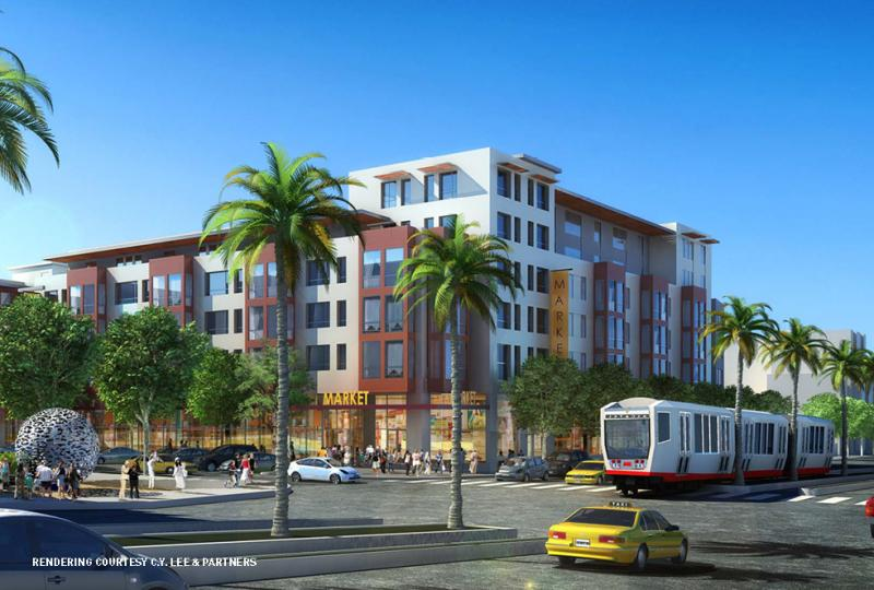 Artist rendering of proposed affordable housing complex by architect Mike Pyatok.